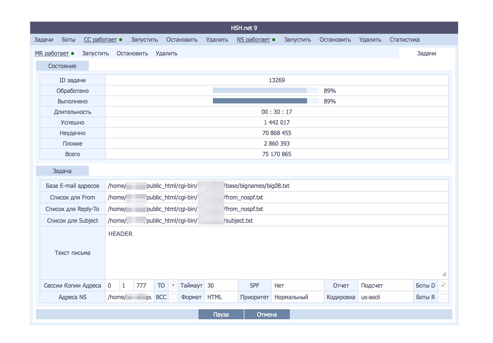 Gambar 4: Panel kontrol menunjukkan status pekerjaan spam