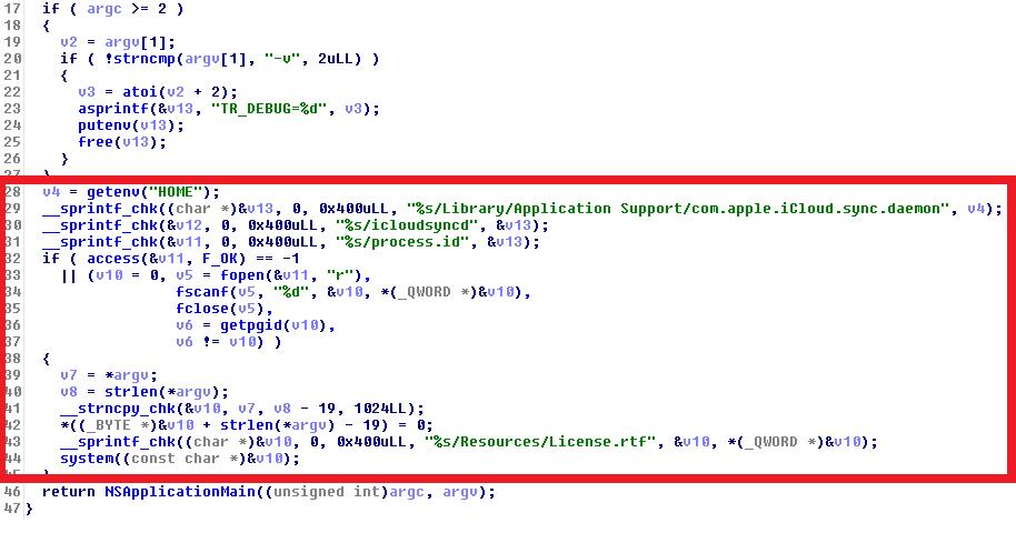 Fungsi utama Transmission menyebar OSX/Keynap