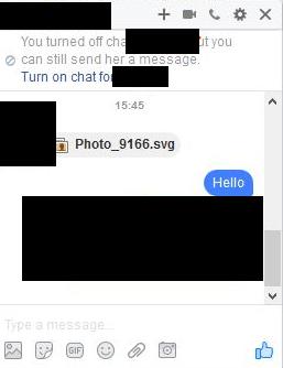 Pesan spam SVG di Facebook Messenger